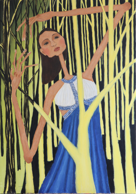 woman-dancing-dense-yellow-forest
