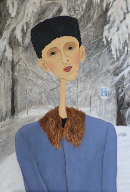 woman-black-hat-standing-in-snowy-forest